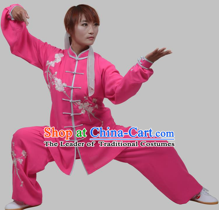 Top Grade Martial Arts Costume Kung Fu Training Purple Clothing, Tai Ji Embroidery Long Fist Uniform Gongfu Wushu Costume for Women for Men