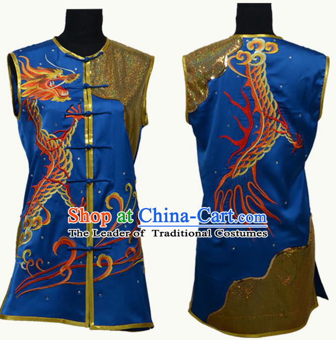 Top Grade Martial Arts Costume Kung Fu Training Blue Clothing, Tai Ji Embroidery Long Fist Uniform Gongfu Wushu Costume for Women for Men