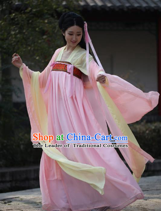 Traditional Ancient Chinese Imperial Princess Wide Sleeve Costume, Elegant Hanfu Clothing Chinese Tang Dynasty Imperial Empress Embroidered Dress for Women