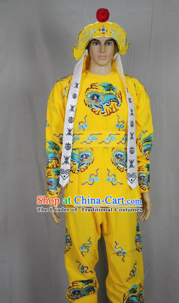 Traditional China Beijing Opera Takefu General Costume, Ancient Chinese Peking Opera Wu-Sheng Warrior Embroidery Yellow Clothing