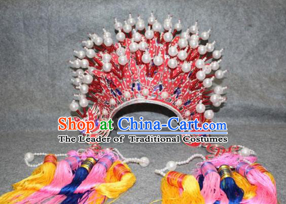 Traditional Handmade Chinese Ancient Classical Hair Accessories Peking Opera Hua Tan Hat, China Beijing Opera Diva Imperial Concubine Headwear Phoenix Coronet