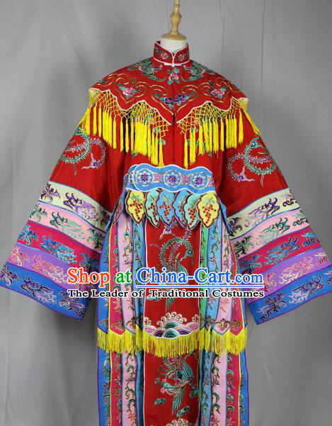 Top Grade Professional Beijing Opera Imperial Concubine Costume Hua Tan Embroidered Dress, Traditional Ancient Chinese Peking Opera Diva Embroidery Clothing
