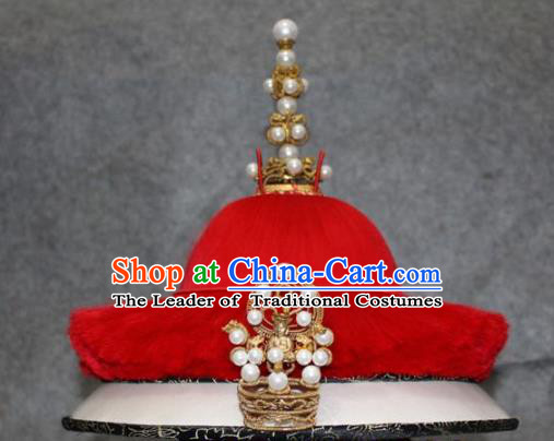 Traditional Handmade Chinese Ancient Classical Hair Accessories Peking Opera Qing Dynasty Emperor Hat, China Beijing Opera Manchu Officer Headwear