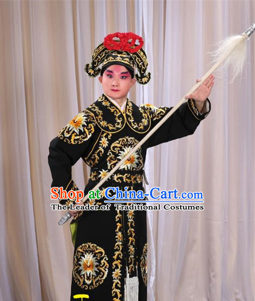 Traditional China Beijing Opera Takefu General Black Costume and Boots, Ancient Chinese Peking Opera Wu-Sheng Warrior Embroidery Yellow Clothing