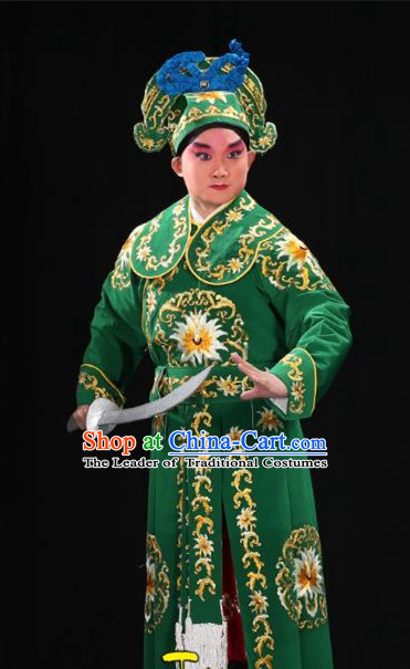 Traditional China Beijing Opera Takefu General Green Costume and Boots, Ancient Chinese Peking Opera Wu-Sheng Warrior Embroidery Yellow Clothing
