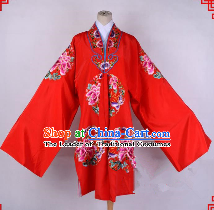 Top Grade Professional Beijing Opera Palace Lady Costume Hua Tan Red Embroidered Cape, Traditional Ancient Chinese Peking Opera Diva Wedding Embroidery Clothing
