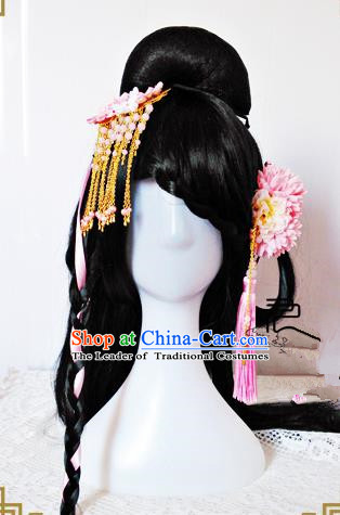 Traditional Handmade Chinese Ancient Classical Hair Accessories Hairpin, Pink Flower Hair Sticks Hair Jewellery Hair Fascinators for Women