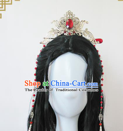Traditional Handmade Chinese Ancient Classical Hair Accessories Swordsman Crystal Tuinga, Hair Jewellery Hair Fascinators for Men