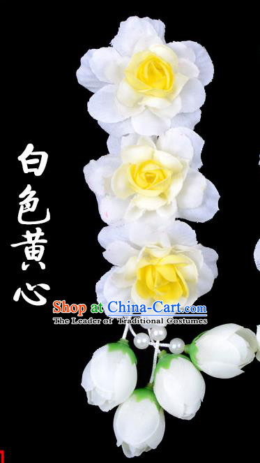 Traditional Beijing Opera Diva Red Hair Accessories White Flowers Temples Hairpin, Ancient Chinese Peking Opera Tassel Step Shake Hua Tan Hairpins Headwear