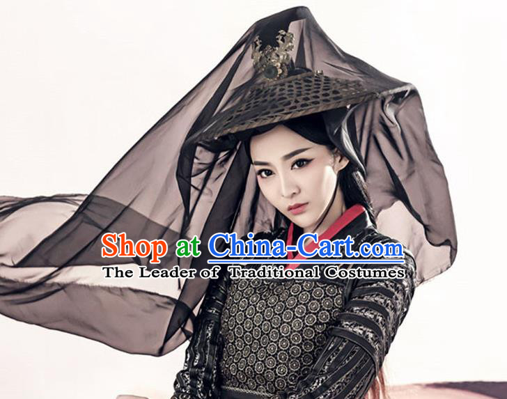 Traditional Handmade Chinese Ancient Swordswoman Hat Accessories, China Hanfu Chivalrous Women Black Bamboo Hat