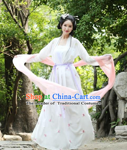 Traditional Ancient Chinese Hanfu Young Lady Costume, Elegant Hanfu Clothing Chinese Song Dynasty Princess Embroidery Dress for Women