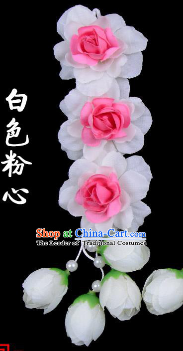 Traditional Beijing Opera Diva Red Hair Accessories White Pink Flowers Temples Hairpin, Ancient Chinese Peking Opera Tassel Step Shake Hua Tan Hairpins Headwear