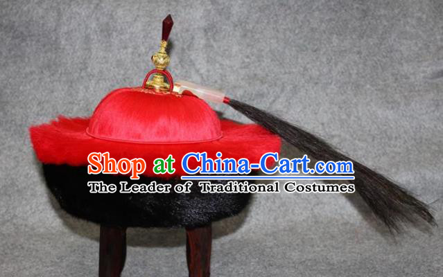 Traditional Handmade Chinese Ancient Classical Hair Accessories Peking Opera Royal Highness Hat, China Beijing Opera Qing Dynasty Manchu Minister Headwear