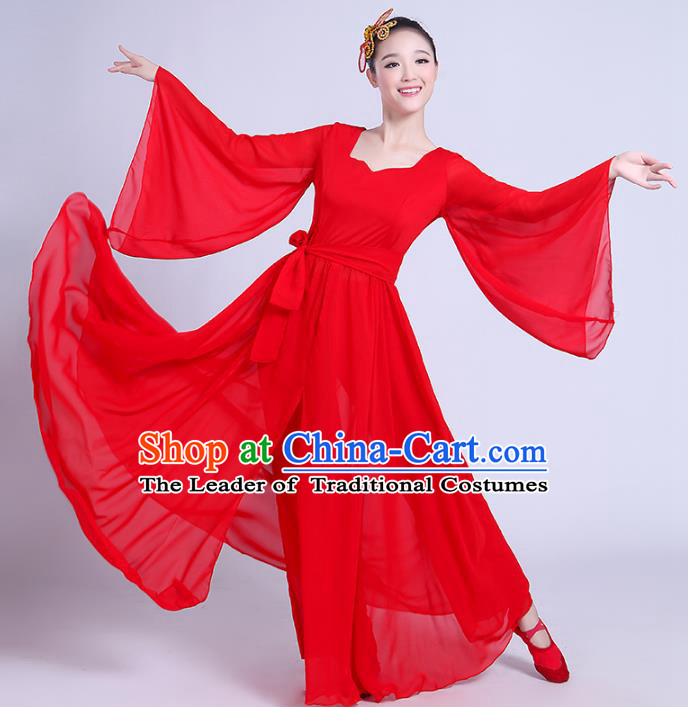 Traditional Chinese Classical Dance Yangge Fan Dancing Costume, Folk Dance Drum Dance Uniform Yangko Red Costume Complete Set for Women