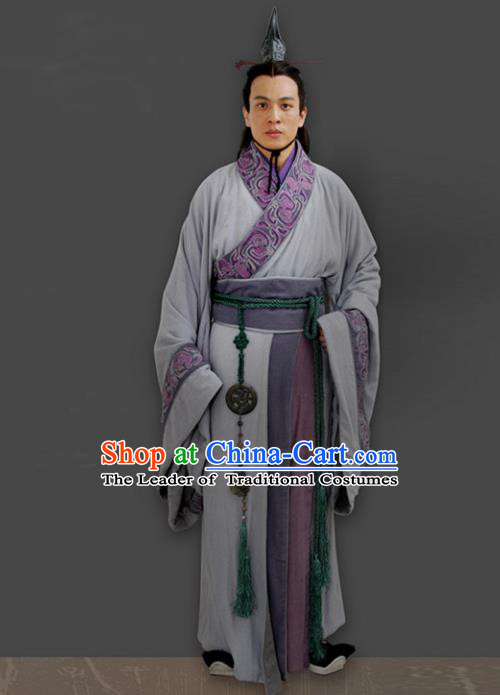 Traditional Chinese Ancient Minister Costume, Elegant Hanfu Clothing Chinese Ancient Qin Dynasty Prince Embroidery Robe Clothing