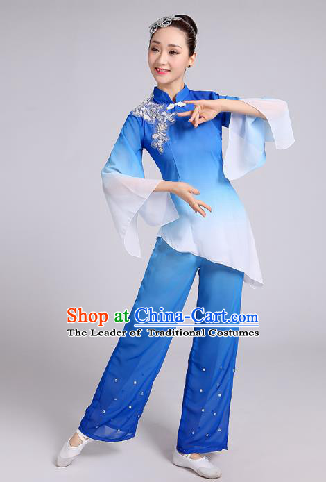 Traditional Chinese Yangge Fan Dance Costume, Chinese Classical Umbrella Dance Blue Chiffon Uniform Yangko Embroidery Clothing for Women