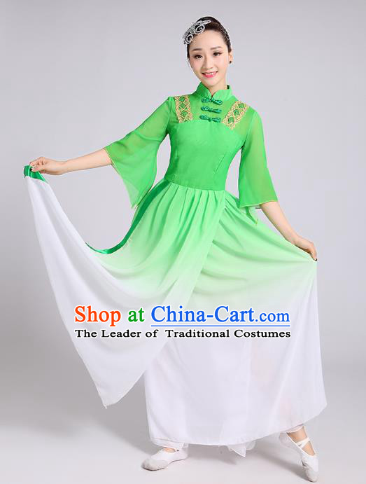 Traditional Chinese Classical Dance Yangge Fan Dance Costume, Chinese Classical Dance Folk Dance Green Uniform Yangko Clothing for Women