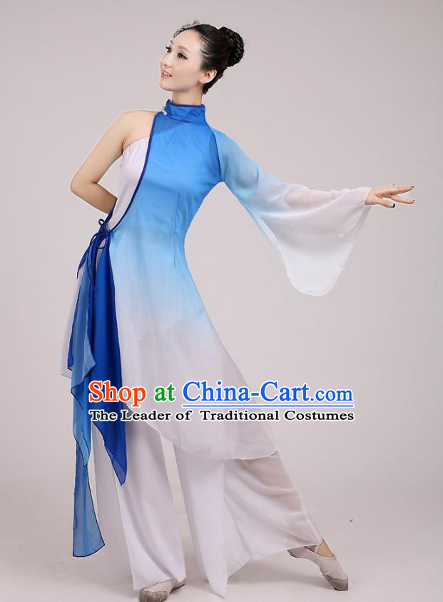 Traditional Chinese Folk Dance Costume Yangge Dance Blue Chiffon Uniform, Chinese Classical Fan Dance Umbrella Dance Yangko Embroidery Clothing for Women
