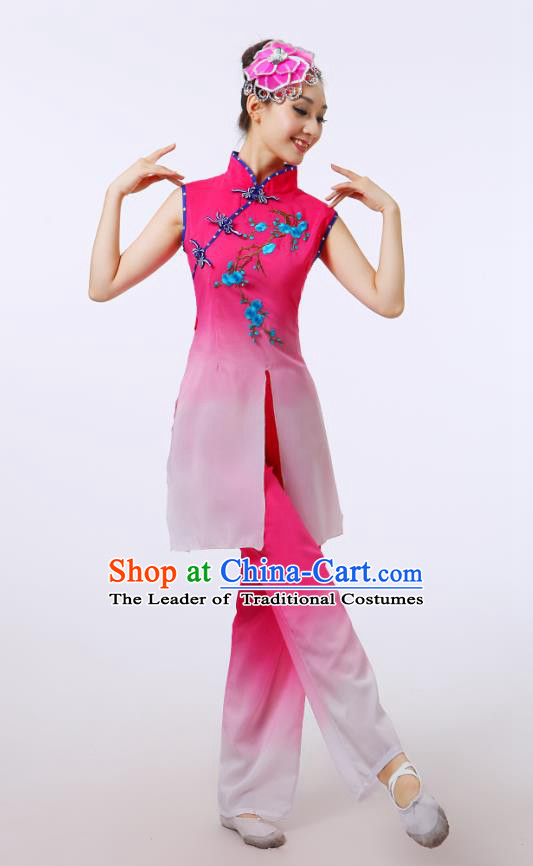 Traditional Chinese Folk Dance Costume Yangge Dance Pink Uniform, Chinese Classical Fan Dance Umbrella Dance Yangko Embroidery Cheongsam Clothing for Women