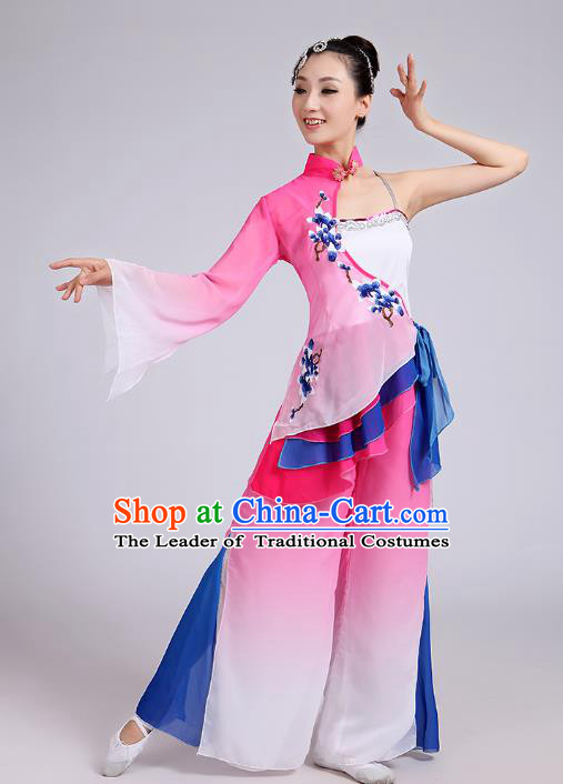 Traditional Chinese Folk Dance Costume Yangge Dance Uniform, Chinese Classical Fan Dance Umbrella Dance Yangko Embroidery Pink Clothing for Women