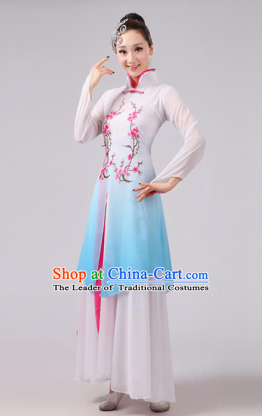 Traditional Chinese Folk Dance Costume Yangge Dance Embroidery Plum Blossom Uniform, Chinese Classical Fan Dance Umbrella Dance Yangko Blue Clothing for Women