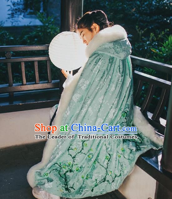 Traditional Chinese Hanfu Han Dynasty Costume Princess Cloak, Elegant Hanfu Clothing Chinese Ancient Palace Lady Embroidery Plum Blossom Green Mantle