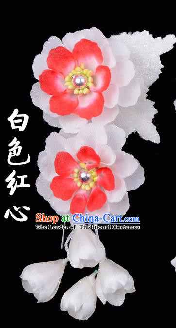 Traditional Beijing Opera Diva Hair Accessories White Silk Flowers Hairpins, Ancient Chinese Peking Opera Hua Tan Hair Stick Headwear