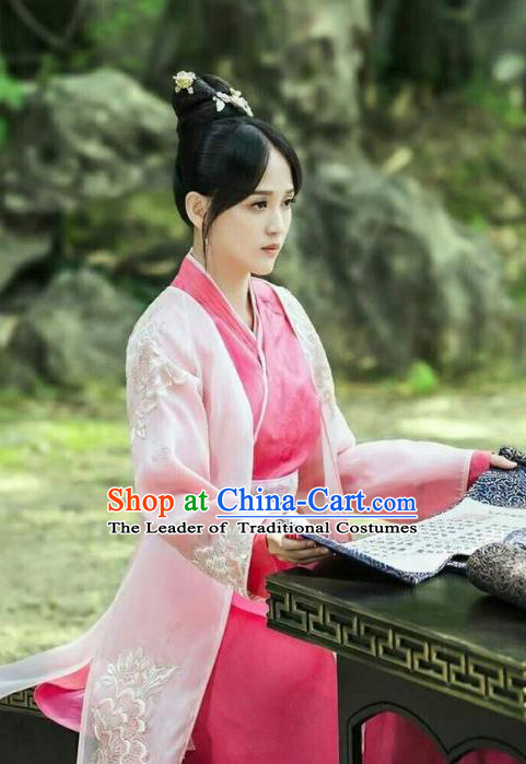 Traditional Ancient Chinese Imperial Empress Costume, Chinese Han Dynasty Imperial Concubine Embroidered Dress Clothing for Women