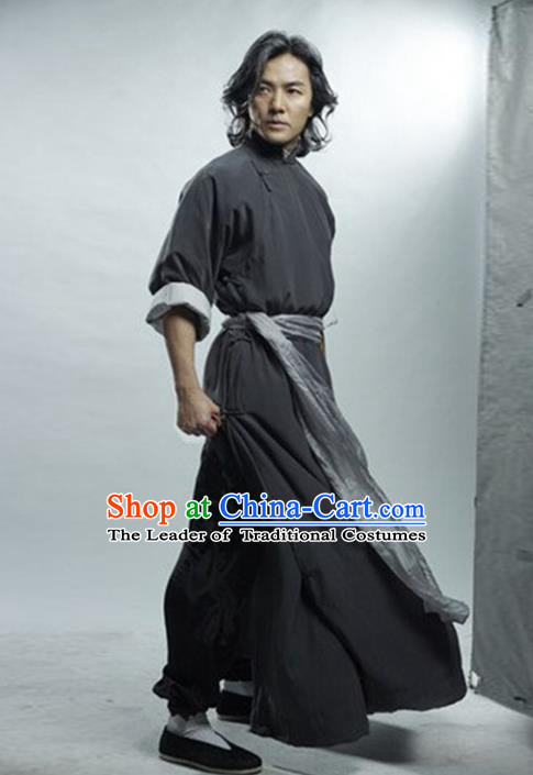 Traditional Chinese Ancient Swordsman Costume Fei-hung Wong Long Robe, Chinese Qin Dynasty Kawaler Hanfu Clothing for Men