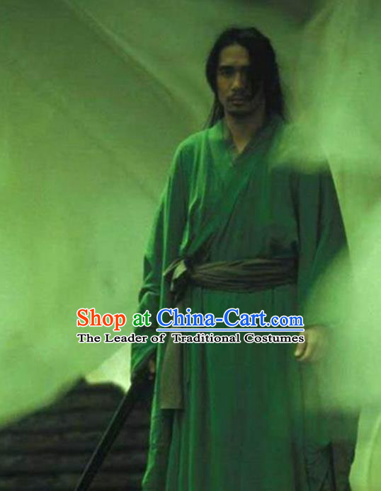 Traditional Chinese Ancient Swordsman Costume, Chinese Qin Dynasty Kawaler Hanfu Green Clothing