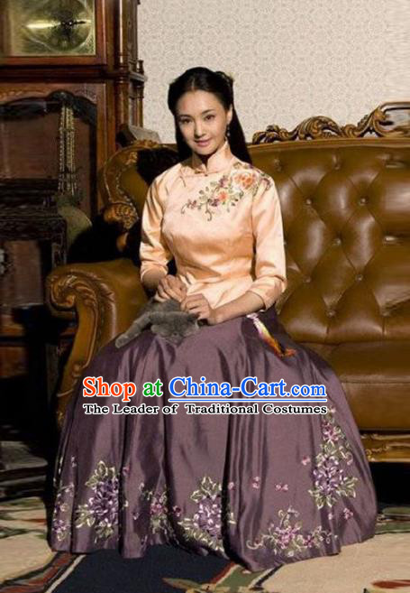 Traditional Chinese Ancient Nobility Lady Costume Pink Blouse and Purple Skirt, Elegant Hanfu Clothing Chinese Republic of China Young Lady Embroidery Cheongsam Clothing