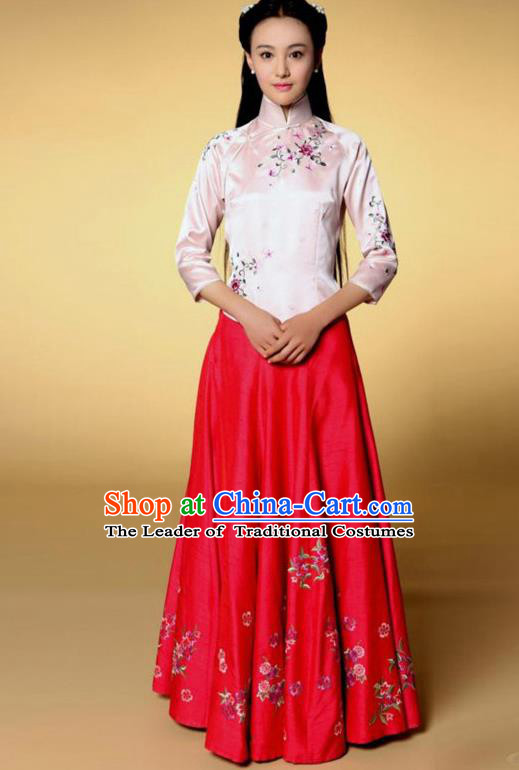Traditional Chinese Ancient Nobility Lady Costume Pink Blouse and Red Skirt, Elegant Hanfu Clothing Chinese Republic of China Young Lady Embroidery Cheongsam Clothing