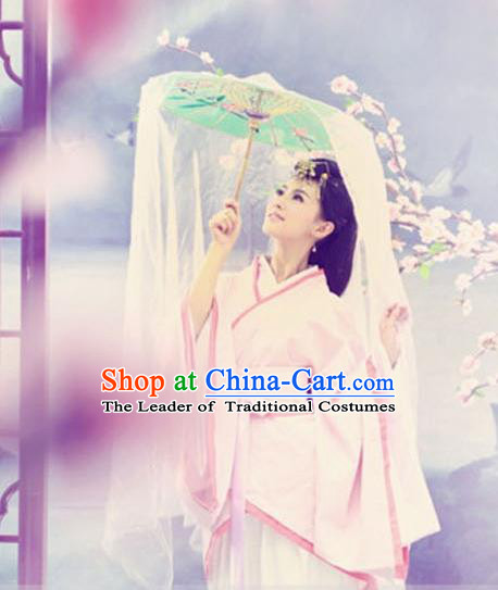 Traditional Ancient Chinese Imperial Consort Costume, Elegant Hanfu Clothing Chinese Han Dynasty Palace Lady Tailing Embroidered Pink Dress Clothing for Women