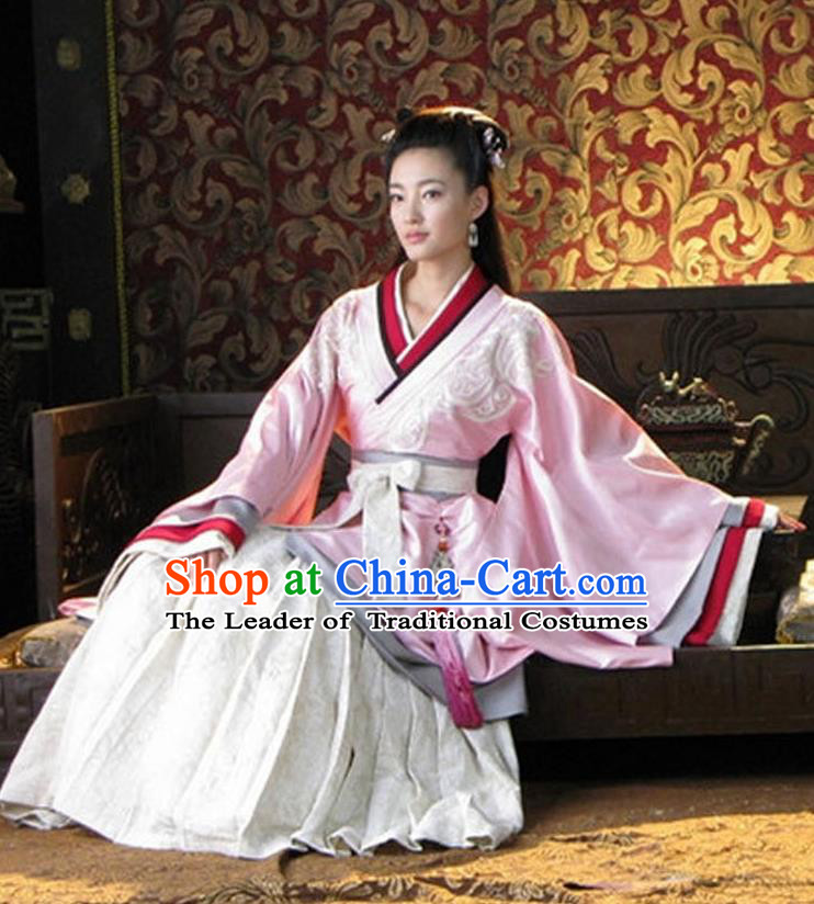 Traditional Ancient Chinese Imperial Consort Costume, Elegant Hanfu Clothing Chinese Han Dynasty Palace Princess Tailing Embroidered Clothing for Women
