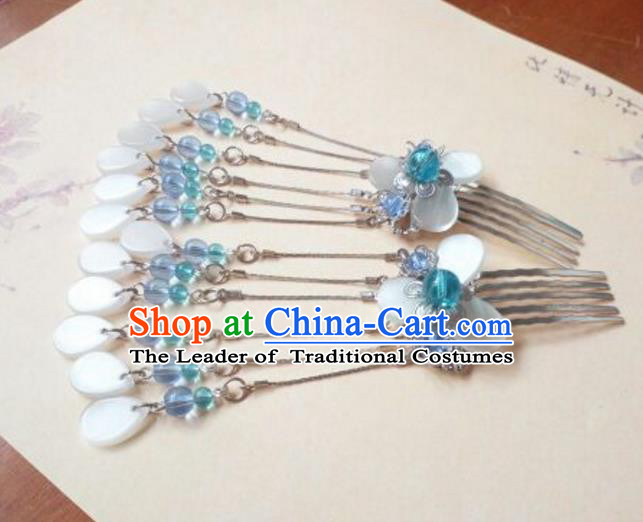 Traditional Chinese Ancient Classical Handmade Hair Accessories Palace Lady Blue Beads Tassel Hairpin, Hanfu Hair Comb Hair Fascinators Hairpins for Women