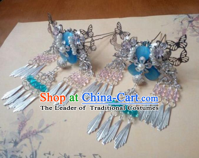 Traditional Chinese Ancient Classical Handmade Palace Lady Hairpin Hair Accessories, Hanfu Butterfly Tassel Hair Comb Hair Fascinators Hairpins for Women