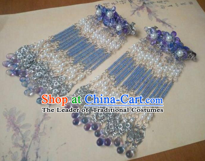 Traditional Chinese Ancient Classical Handmade Palace Lady Hairpin Hair Accessories, Hanfu Blue Tassel Hair Comb Hair Fascinators Hairpins for Women