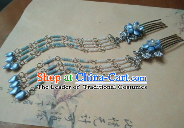 Traditional Chinese Ancient Classical Handmade Palace Princess Hairpin Hair Accessories, Hanfu Blue Tassel Hair Comb Hair Fascinators Hairpins for Women