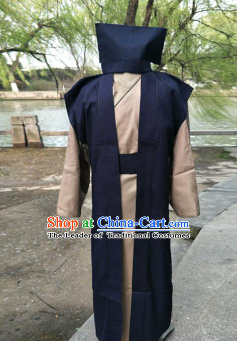 Traditional Chinese Ancient Swordsman Costume, Chinese Han Dynasty Scholar Ministry Councillor Clothing for Men