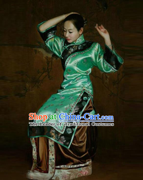 Traditional Ancient Chinese Republic of China Peeresses Costume Green Xiuhe Suit, Elegant Hanfu Clothing Chinese Qing Dynasty Nobility Dowager Clothing for Women