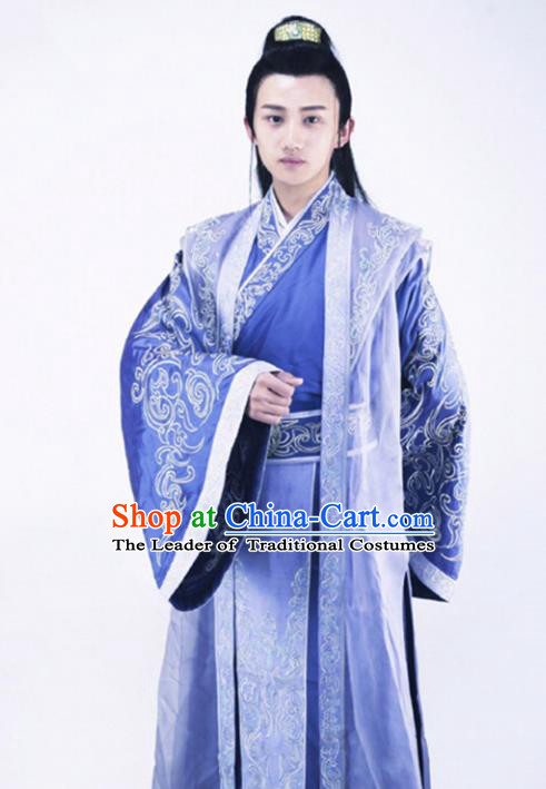 Traditional Chinese Ancient Hanfu Swordsman Costume, Chinese Han Dynasty Nobility Childe Kawaler Clothing for Men