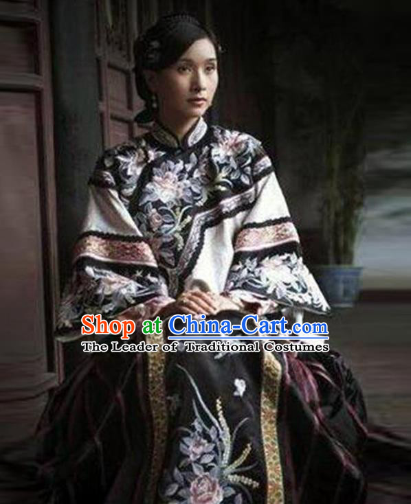 Traditional Ancient Chinese Republic of China Princess Costume Black Xiuhe Suit, Elegant Hanfu Clothing Chinese Qing Dynasty Nobility Dowager Clothing for Women