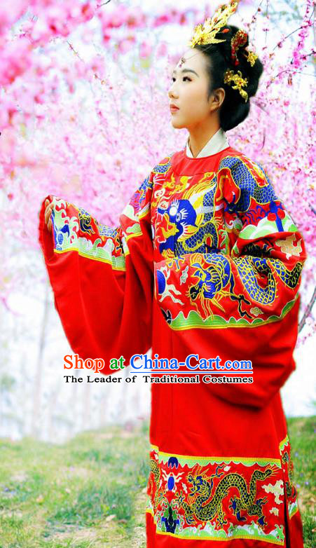 Traditional Ancient Chinese Imperial Empress Wedding Red Costume Complete Set, Elegant Hanfu Clothing Chinese Ming Dynasty Queen Bride Embroidered Clothing