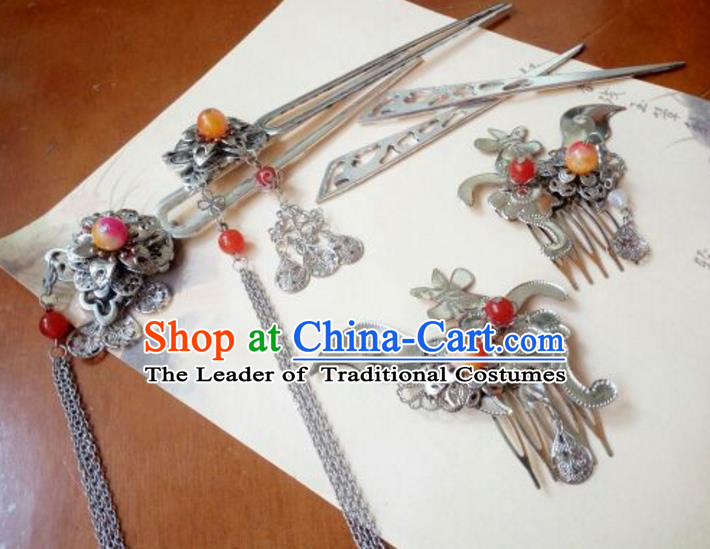 Traditional Chinese Ancient Classical Handmade Palace Princess Hair Comb Hair Accessories Complete Set, Hanfu Tassel Hair Stick Hair Fascinators Hairpins for Women
