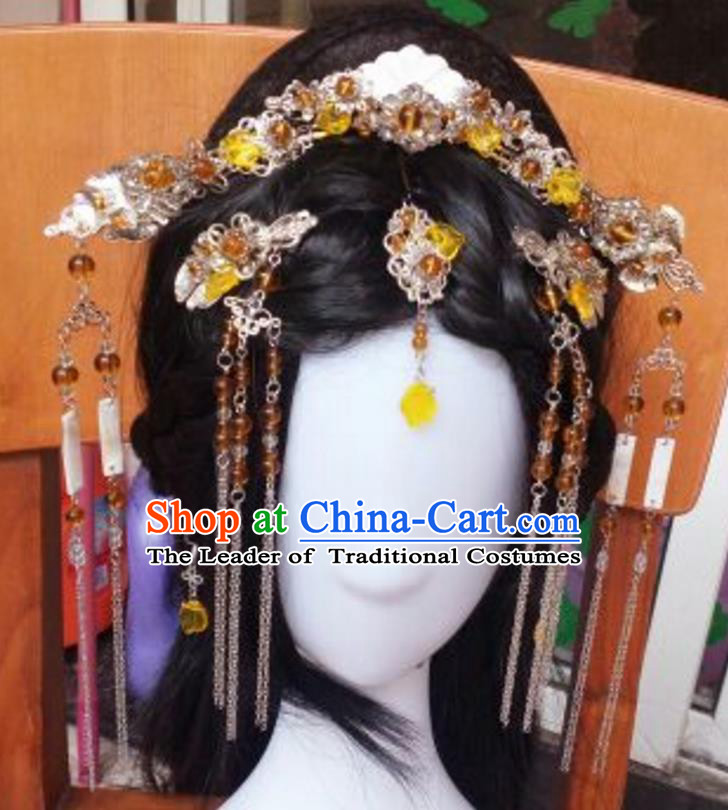Traditional Handmade Chinese Ancient Classical Palace Lady Hair Accessories Complete Set, Hair Sticks Hair Jewellery, Hair Fascinators Hairpins for Women