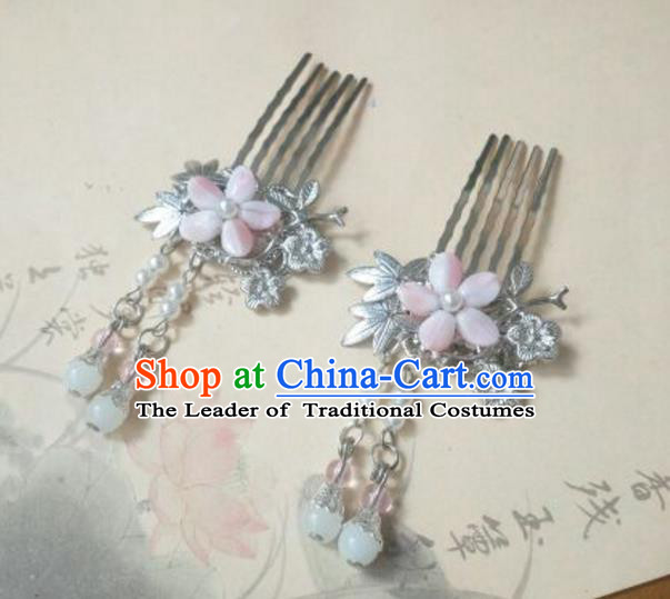 Traditional Handmade Chinese Ancient Classical Palace Lady Hair Accessories Tassel Hair Comb, Hair Fascinators Pink Hairpins for Women