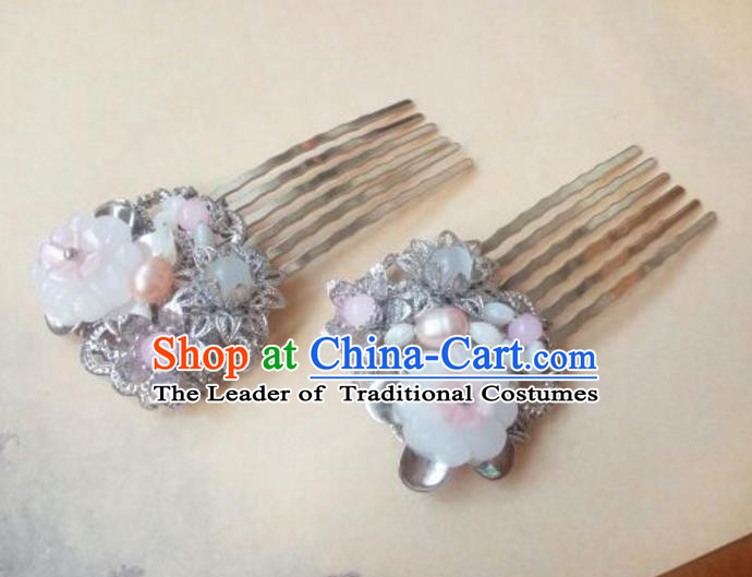 Traditional Handmade Chinese Ancient Classical Hanfu Hair Accessories Palace Lady Shell Hair Comb, Princess Hairpins Hair Stick Headwear for Women