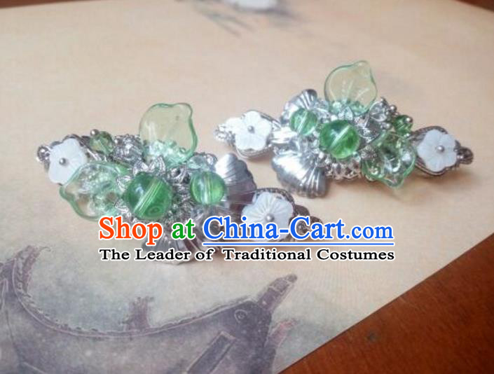 Traditional Handmade Chinese Ancient Classical Hanfu Hair Accessories Palace Lady Green Bead Hair Claw, Princess Hairpins Hair Stick Headwear for Women