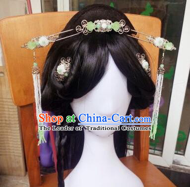 Traditional Handmade Chinese Ancient Classical Hanfu Hair Accessories Palace Lady Green Step Shake Complete Set, Princess Hairpins Hair Comb Headwear for Women