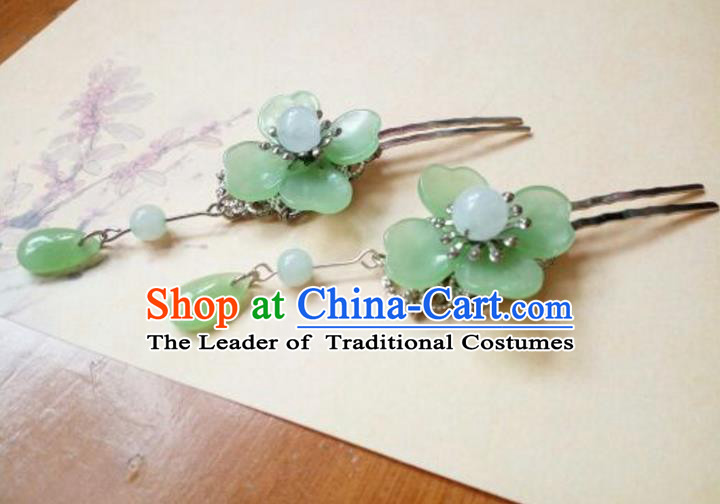 Traditional Handmade Chinese Ancient Classical Hair Accessories Green Flower Hairpin, Hair Fascinators Hairpins for Women